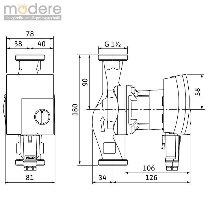 wilo yonos pico 25 1 4 hocheffizienzpumpe 180 mm 4164002 wilo pumpen modere. Black Bedroom Furniture Sets. Home Design Ideas