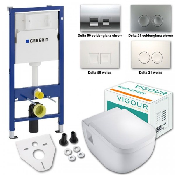 Komplettset Vigour derby WC mit Spülrand mit WC-Sitz inkl. Geberit Vorwandelement UP100