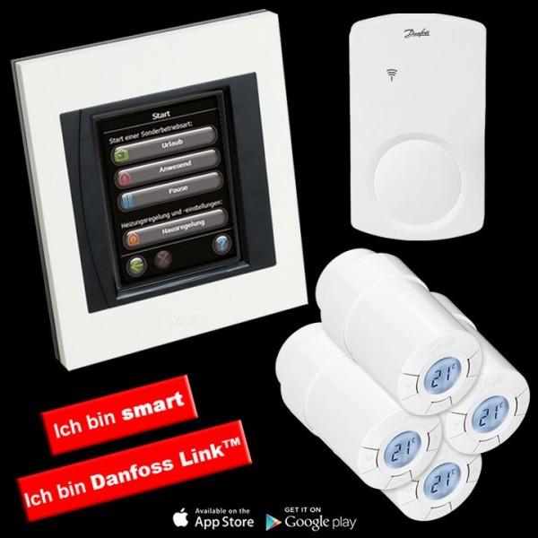 Danfoss Link™ Smarthome Starterpaket Zentralregler inkl. Thermostatköpfe 4 Stk. u. Signalverstärker