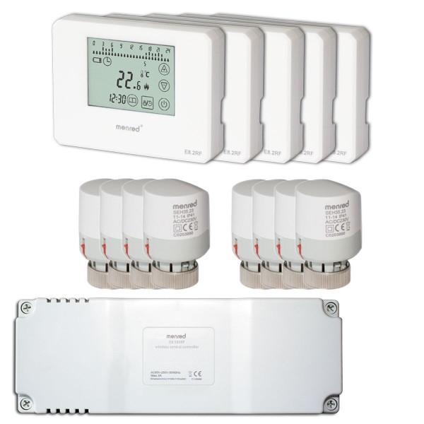 Funk Komplett Set Menred 8.2RF und E8.583RF inkl. TSA10 SEH35.23 Thermostat, Empfänger u.Stellantrieb
