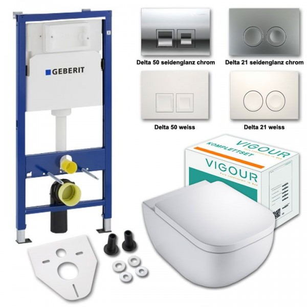 Komplettset Vigour derby WC ohne Spülrand mit WC-Sitz softclose inkl. Geberit Vorwandelement UP100