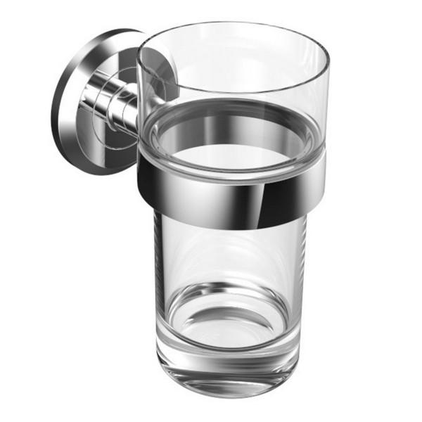 Vigour Glashalter ONE verchromt mit Becher aus Kunststoff klar ONGHK