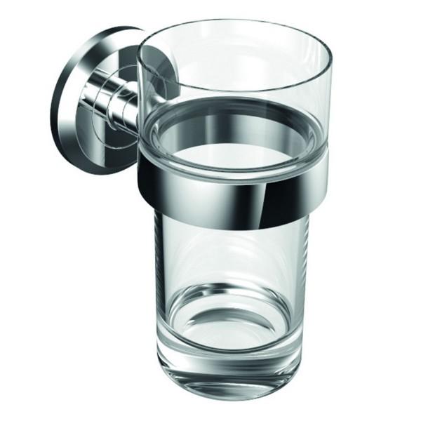 Vigour Glashalter ONE verchromt mit Becher aus Kristallglas klar ONGH